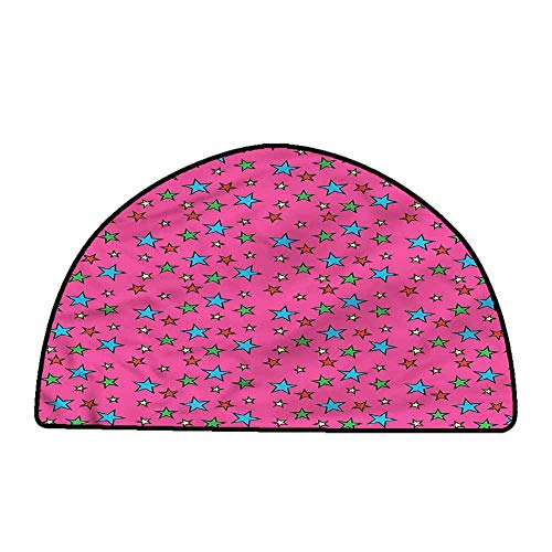 Kitchen Doormat Pop Art,Hot Pink Retro Stars,W47