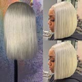 """Lace Front Wigs 150% Density Short Bob Wigs Full Ends Human Hair Straight T Part Bob Wigs Lace Front Pre Plucked Hairline Grey Color Long 16"""""""