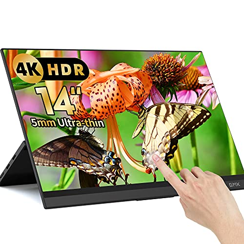 Touchscreen Portable Monitor, 14 Inch 4k USB-C External Portable Monitor, 3840 x 2160 UHD Computer Monitor with Dual Type-C Mini HD Freesync for Laptop PC Phone Mac Surface Xbox PS4 Switch