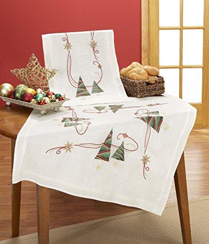 Kamaca Stickpackung TANNENBÄUME Tischdecke 80x80 cm Spannstich Stielstich Plattstich Nadelmalerei vorgezeichnet Baumwolle komplettes Stickset mit Stickvorlage Weihnachten