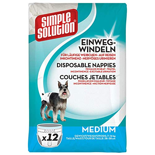 Simple Solution Couches Jetables Pour Chiens Taille Moyenne - 12 Pièces