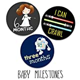 Darling Character Themed Baby Milestone Stickers for First Year Month to Month Photo Prop Infant Onesie Growth Chart Shower Registry Gift Scrapbook Photo Keepsake Monthly Set (Galaxy Set)