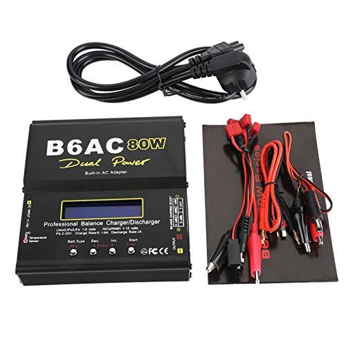 Cargador de Equilibrio Digital para LCD, B6ac 80w Cargador descargador, para batería Li-Ion Li-po Nicd Ni-mh RC, Uso Directo sin Adaptador de Corriente, con Circuito de Alto Rendimiento