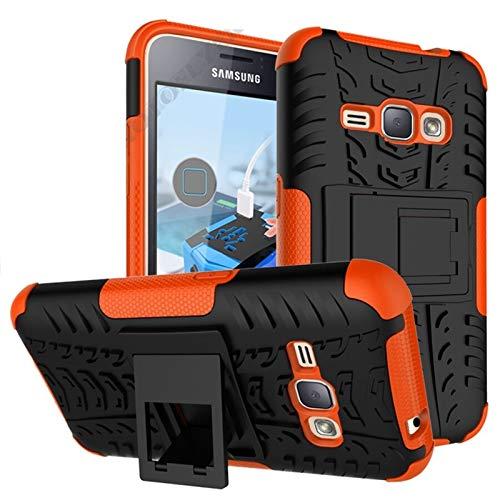 RZL Teléfono móvil Fundas 2 en 1 Caso del Estilo de la Armadura para Samsung Galaxy J1 2016 / SM-J120 J1 Mini Primer J110 contraportada Heavy Duty Coque PC + Silicone Fundas