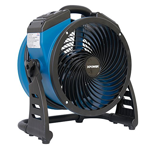 """XPOWER P-21AR 11"""" Diameter Industrial High Velocity Axial Air Mover/Carpet Dryer/Floor Fan/Utility Blower 1100 CFM, 0.6 Amps"""