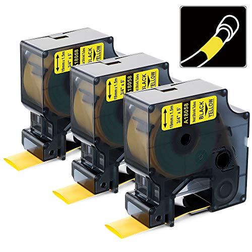 """Aonomi Compatible Label Tape Replacement for DYMO 18058 3/4"""" Heat Shrink Tube Work with DYMO Industrial Rhino 4200, 5200, 5000, 6000 Label Maker (Black on Yellow, 3/4'' x 4.9'), 3-Pack"""