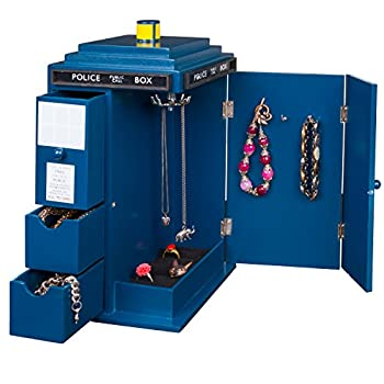 Doctor Who Tardis Wooden Jewelry Box with Drawers Hooks and Ring Inserts