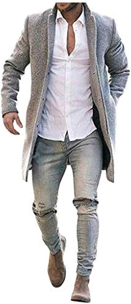 Stoota Men's Fashion Warm Wool Coat, Winter Trench Longline Outwear Button Down Turn Down Collar Dress Overcoat Coat