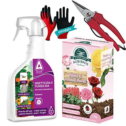 Set Rose Concime Granulare+Spray Insetticida Sistemico Acaricida Funghicida per Rose e Arbusti Fioriti, Piante in Vaso e Ornamentali| con Forbice per Fiori e Guanti Protettivi Omaggio (Set Completo)