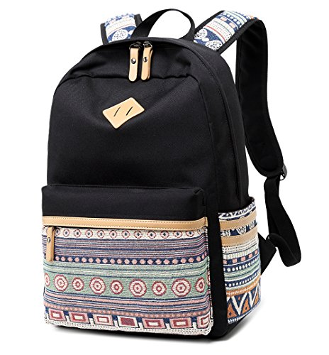 LuckyZ Lightweight Backpacks for School Canvas Backpack Big Student Teenager College Casual Bookbags Travel Black Daykpack