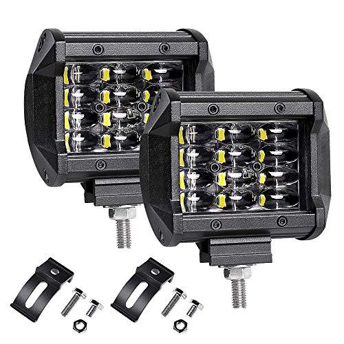 Zusatzscheinwerfer, LTPAG 2 x 72W Cree LED Arbeitsscheinwerfer 4 Zoll 7200LM 6000K IP68 Wasserdicht Offroad Flutlicht Vier Reihen LED Scheinwerfer Arbeitsleuchte Nebelscheinwerfer