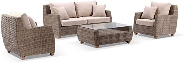 Grange 2+1+1 Outdoor Wicker Lounge Setting with Coffee Table - Wheat W/Sand, Brushed Wheat Wicker w/Sand - Outdoor Lounges...