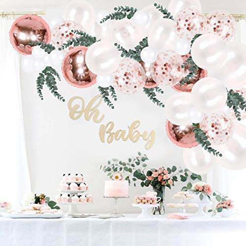 Rose Gold Balloons Garland Kit - 68pcs Balloon Arch Include Latex Balloons Confetti Balloons Foil Balloons Eucalyptus Leaves for Birthday Wedding Bridal Shower Party Photo Booth Backdrop