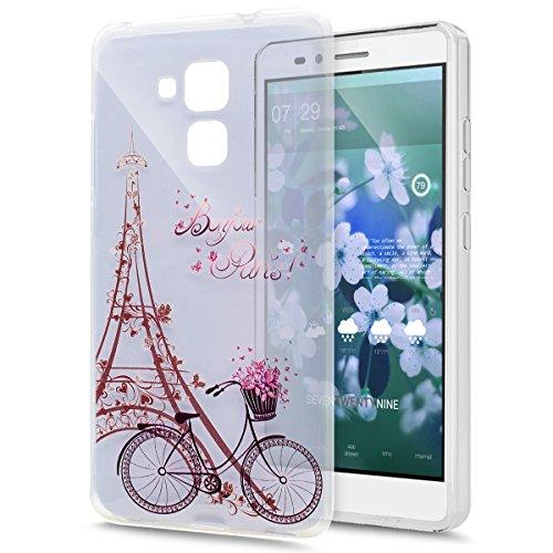 Kompatibel mit Schutzhülle Huawei Honor 5C Hülle Handyhülle Silikon Hülle,Gemalt Kunst Malerei Transparent Klar TPU Silikon Hülle Handyhülle Tasche Durchsichtig Schutzhülle,Eiffelturm Fahrrad