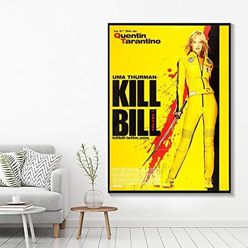 Meedogenloze vrouw bekende filmposter wall art geel olieverf woonkamer HD canvas print decoratieve canvas schilderij frameloze schilderij 40X50 cm