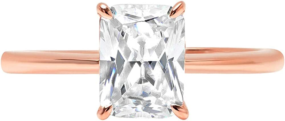 Clara Pucci 1.75ct Brilliant Radiant Cut Solitaire White Lab Created Sapphire Gem 4-Prong Engagement Wedding Bridal Promise Anniversary Ring Solid 18K Rose Gold for Women