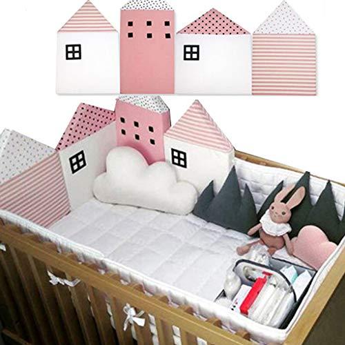 protector cuna,Baby Cot Bumper Wrap Around Protección para la cama del bebé con Head Guard 100% hipoalergénica ,cHouse Shape, 4pcs Set