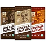 K'UL CHOCOLATE Bars | 3 Pack Chocolate | Espresso & Cacao Nibs Chocolate Bar | Pure Dark Chocolate | Wild Ginger & Cayenne Chocolate Bar | Organic, Soy-Free, Vegan, Gluten-Free, Non-Gmo | 2.8oz Each