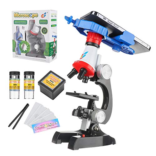 Kids Microscope for Student Beginner w/LED 100X 400x 1200x Magnification (with Phone Clip) Boys Girls Educational Toy Birthday Gift,Interactive Learning, Kids Science Experiment Kits