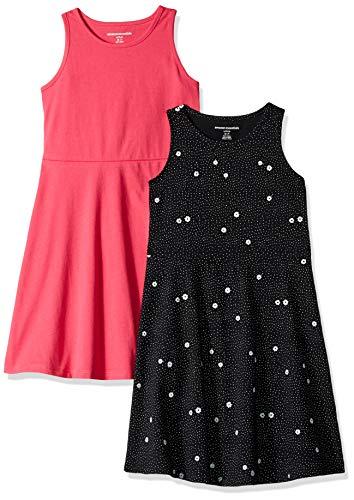 Amazon Essentials Mädchen 2er-Pack Tank-Kleid, Floral/Raspberry, S