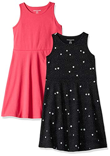 Amazon Essentials Girl's 2-Pack Tank Dress, Floral/Raspberry, Small