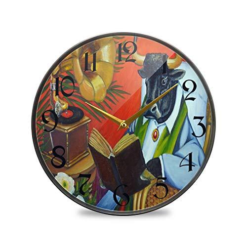 ART VVIES Reloj de Pared Redondo de 12 Pulgadas Que no Hace tictac silencioso Funciona con Pilas Oficina Cocina Dormitorio decoración del hogar-Toro Vaca Libro Silla de Mimbre
