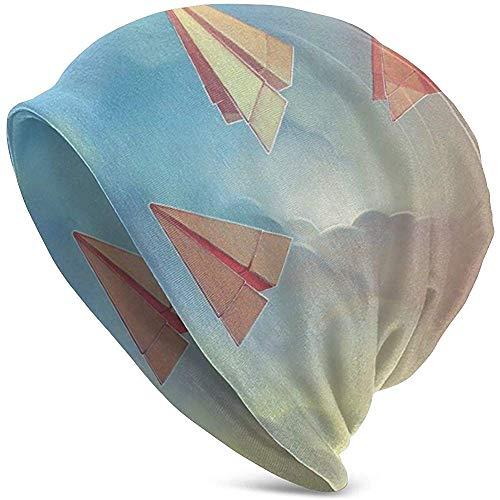 Maselia Papierflugzeuge Origami Strickmütze Komfortable weiche Slouchy Skull Strickmütze Unisex Schwarz
