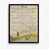 Nacnic Poster del principito para niños pequeños. Lámina de Principito y el zorro con definiciones. Posters de cuentos e ilustraciones para niños. Tamaño A4