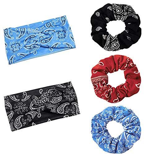 2 diademas y 3 gomas para el pelo, diseño de cachemira, elásticas, turbante y pelo, multicolor