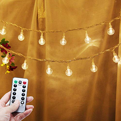 Battery Operated String Lights, 33ft 80 Led Globe String Lights Battery Powered with Remote Control for Bedroom Home Wedding Christmas Indoor Room Decor Outdoor Patio Lights Warm White