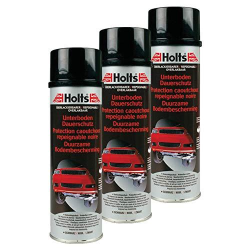 Holts 3X Unterboden-Schutz Kautschukspray Autopflege Steinschlagschutz Hohlraumschutz Unterbodenpflege Autolack Lackpflege Protection Soubassement 500 Ml 0082m