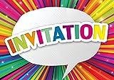 Edition Colibri Lot de 10 Cartes d'Invitation Rayons COLORÉS en Français pour Un Anniversaire d'Enfant ou pour Une fête colorée des (10975 FR)