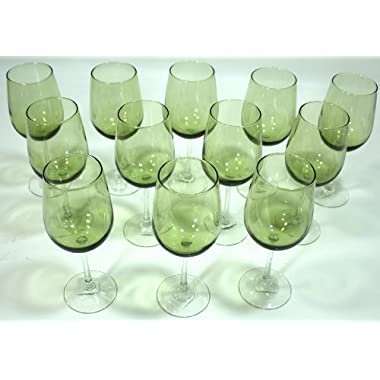 Olive Green, Clear Stem, Two-Tone Wine Glasses - Set of 12