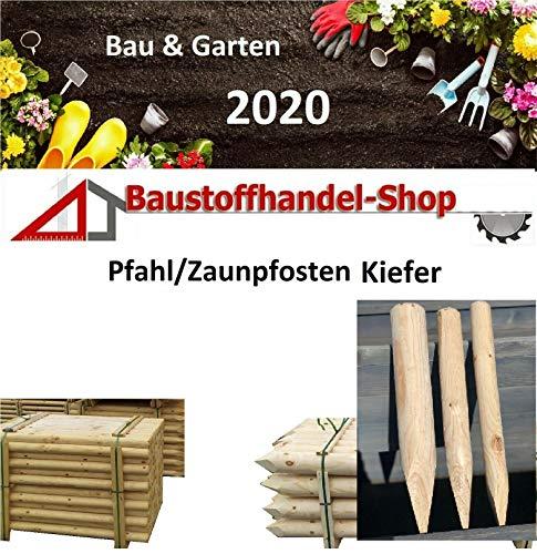 BaustoffhandelShop Kiefer Palisade roh/frisch Zaunpfosten ab 2,50€/St. Holzpfosten Zaunpfahl Zaunpfähle Zaunpfosten Spitz Holz Pfosten (gespitzt roh, 50x500mm)