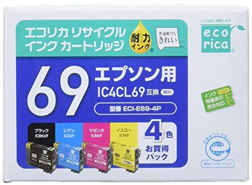 エコリカ エプソン IC4CL69対応リサイクルインクカートリッジ 4色パック ECI-E69-4P 目印:砂時計