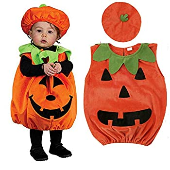 Infant Baby Boys Girls Halloween Pumpkin Costume Hooded Romper Jumpsuit Outfits Dress Up Set  1-2T Baby Halloween Costumes Romper