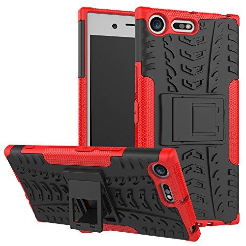 HongMan Funda para Sony Xperia XZ Premium, Robusta Carcasa Híbrida TPU + PC de Doble Capa Anti-arañazos Caso, Armor Heavy Duty Case Cover Duradero Protección Neumáticos Patrón, Rojo