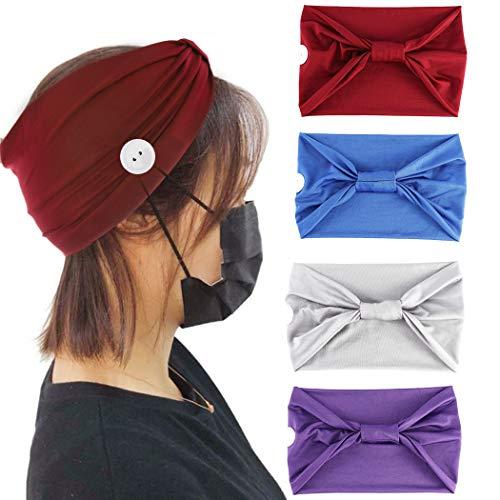 Yean Lot de 4 bandeaux élastiques avec bouton pour support de masque Rouge
