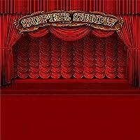 GooEoo 5×5フィートビニール写真の背景ステージバランススーパーショー赤いカーテンパーティーお祝い祭りテーマ子供キッズ大人肖像画背景1.5(W)X 1.5(H)Mフォトスタジオ小道具