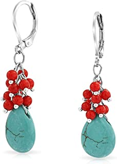 Compressed Turquoise Blue Dyed Coral Red Teardrop Pear Crystal Drop Leverback Earrings For Women Silver Plated Brass