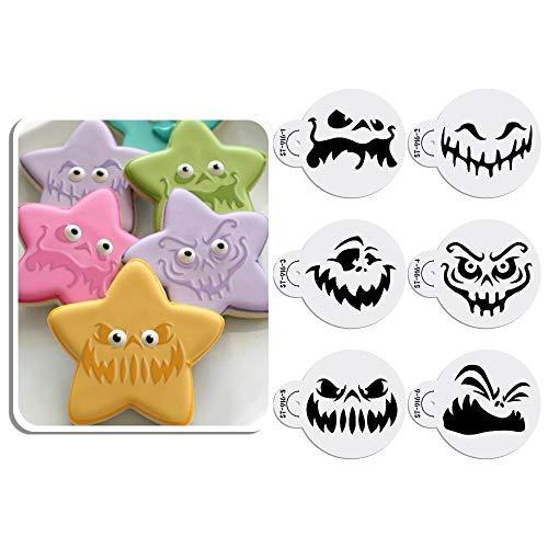 Art Kitchenware - Juego de 6 plantillas para decoración de tartas, diseño de cara de fantasma de Halloween, 6 piezas, 7 cm