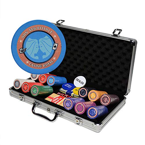 Bueuwe Casino Chips Klassische Keramik Poker Chip Set Texas Holdem Poker Chips Mit Aluminiumgehäuse, Chips Ohne Nennwert, Constellation Pattern Design,Black Suitcase,300pcs