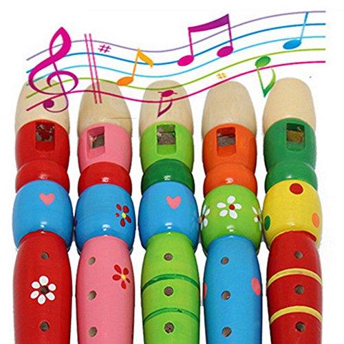 seguryy 1 6 trous Clarinette en bois Instrument de musique Jouets Piccolo Flûte pour mixte enfant