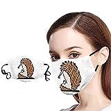 1 Pieza Blanco Tela Proteccion para Adultos con Correas elásticas para los oídos y Cinta de Papel de Filtro, impresión de Erizo de Dibujos Animados