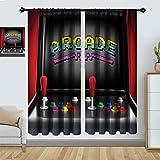 Arcade Games Curtains, Arcade Machine Retro Game Fun Joystick Buttons Vintage 80s...
