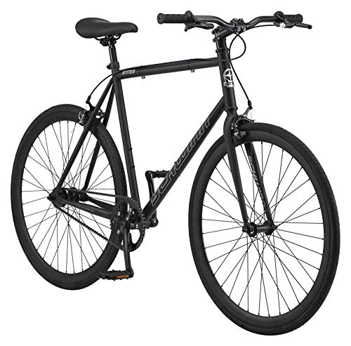 Schwinn Stites Single-Speed Fixie Bike, Featuring 58cm/Large Steel Stand-Over Frame with 700c Wheels and Flip-Flop Hub, Perfect for Urban Commuting and City Riding, Matte Black
