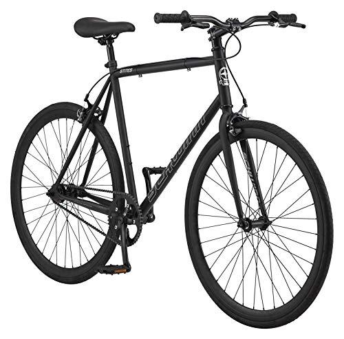 Schwinn Stites Fixie Adult Commuter Road Bike, Single-Speed, 58cm/Large Steel Stand-Over Frame, 700c Wheels, Flip-Flop Hub, Matte Black