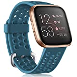 GEAK Compatible with Fitbit Versa/Versa Lite/Fitbit Versa 2 Bands for Women Men, Waterproof Silicone Strap Replacement Wristband with Air Holes for Fitbit Versa Smart Watch, Small Slate