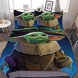 Star Wars The Kind Baby Yoda Funda nórdica de microfibra suave y esponjosa 2 fundas de almohada ropa de cama infantil regalo juvenil (03, 220 x 240 cm (50 x 75 cm)