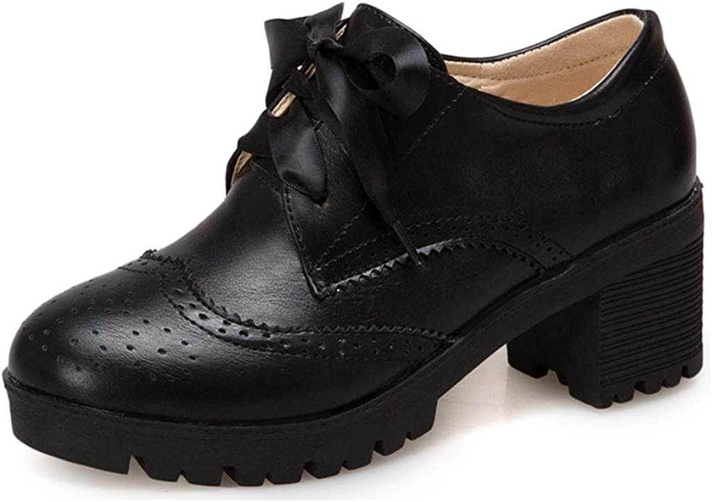 MIOKE Women's Lace Up Pump Wingtip Mid Oxfords 70% OFF Outlet All items free shipping Chunky Perforated